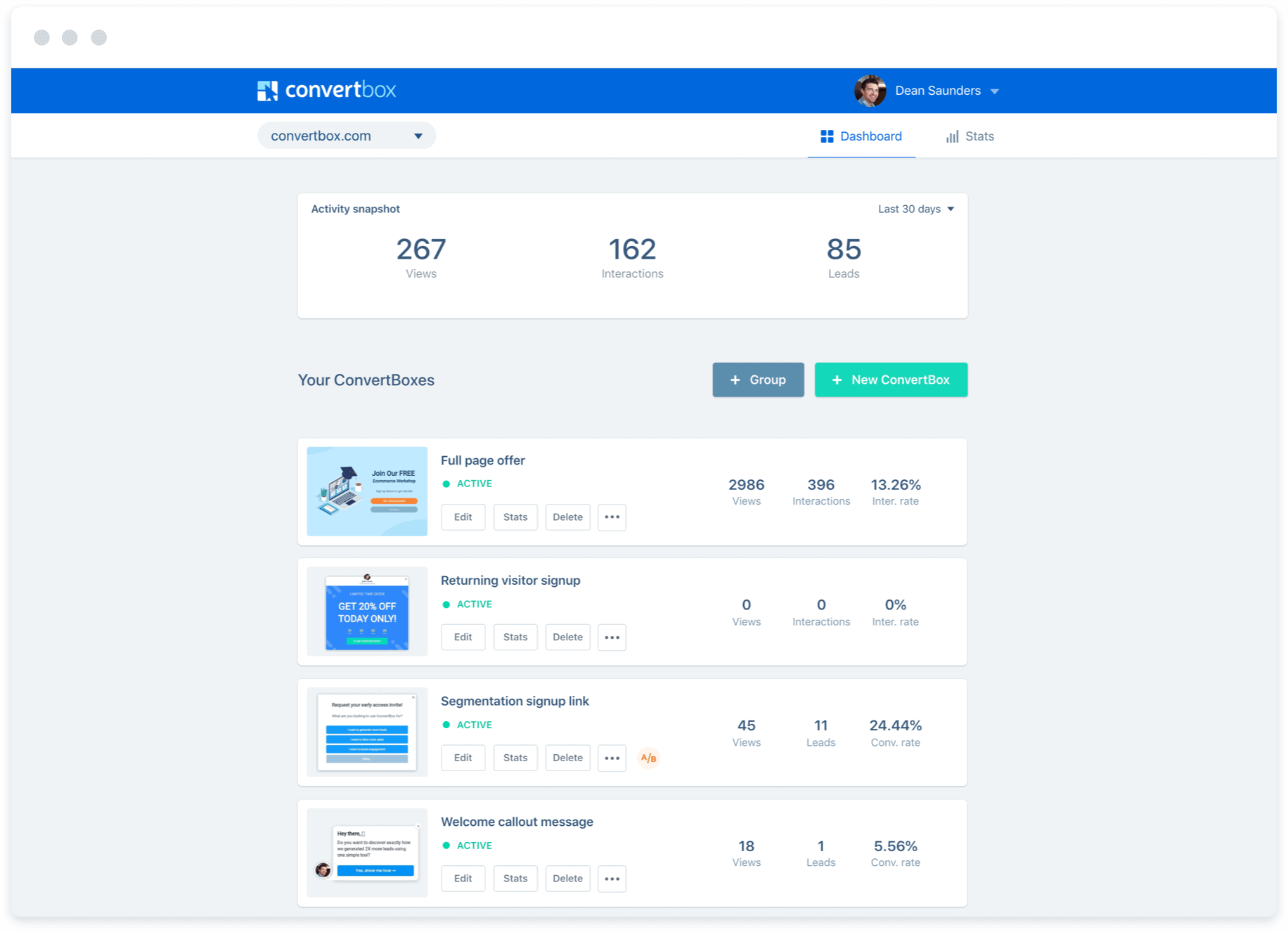 Convertbox dashboard- Convertbox review