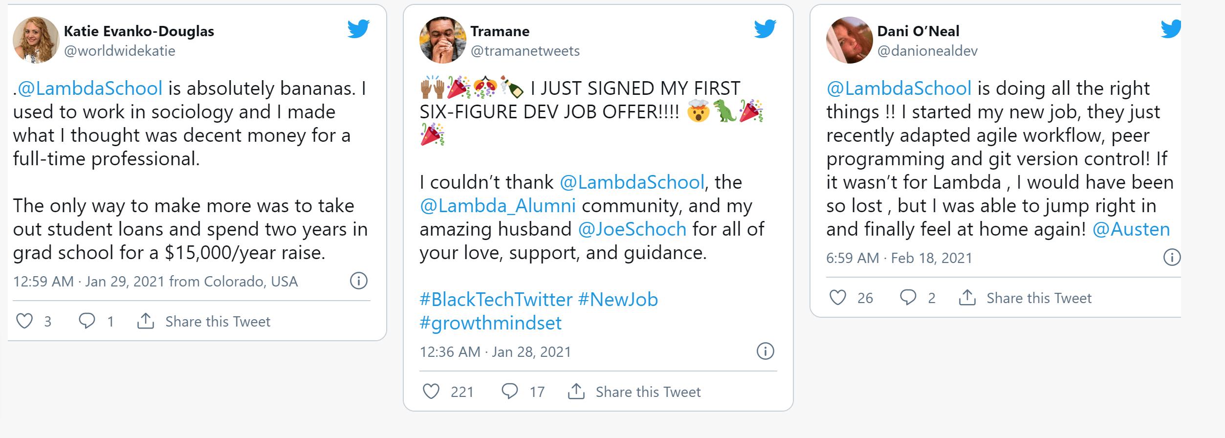 lambda school vs springboard- Lamda school reviews and testimonials
