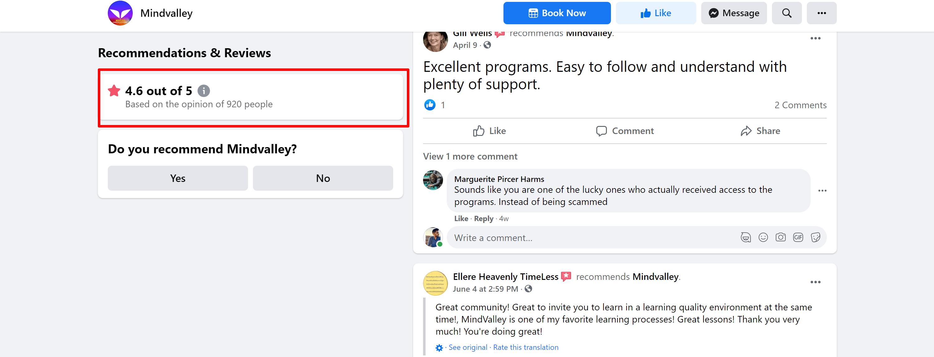 Mindvalley reviews facebook- integral life