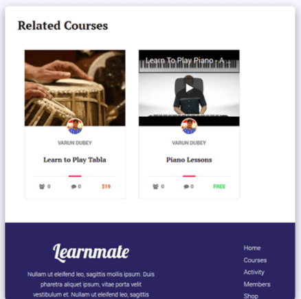 Related Course Module- learnmate learndash theme Review