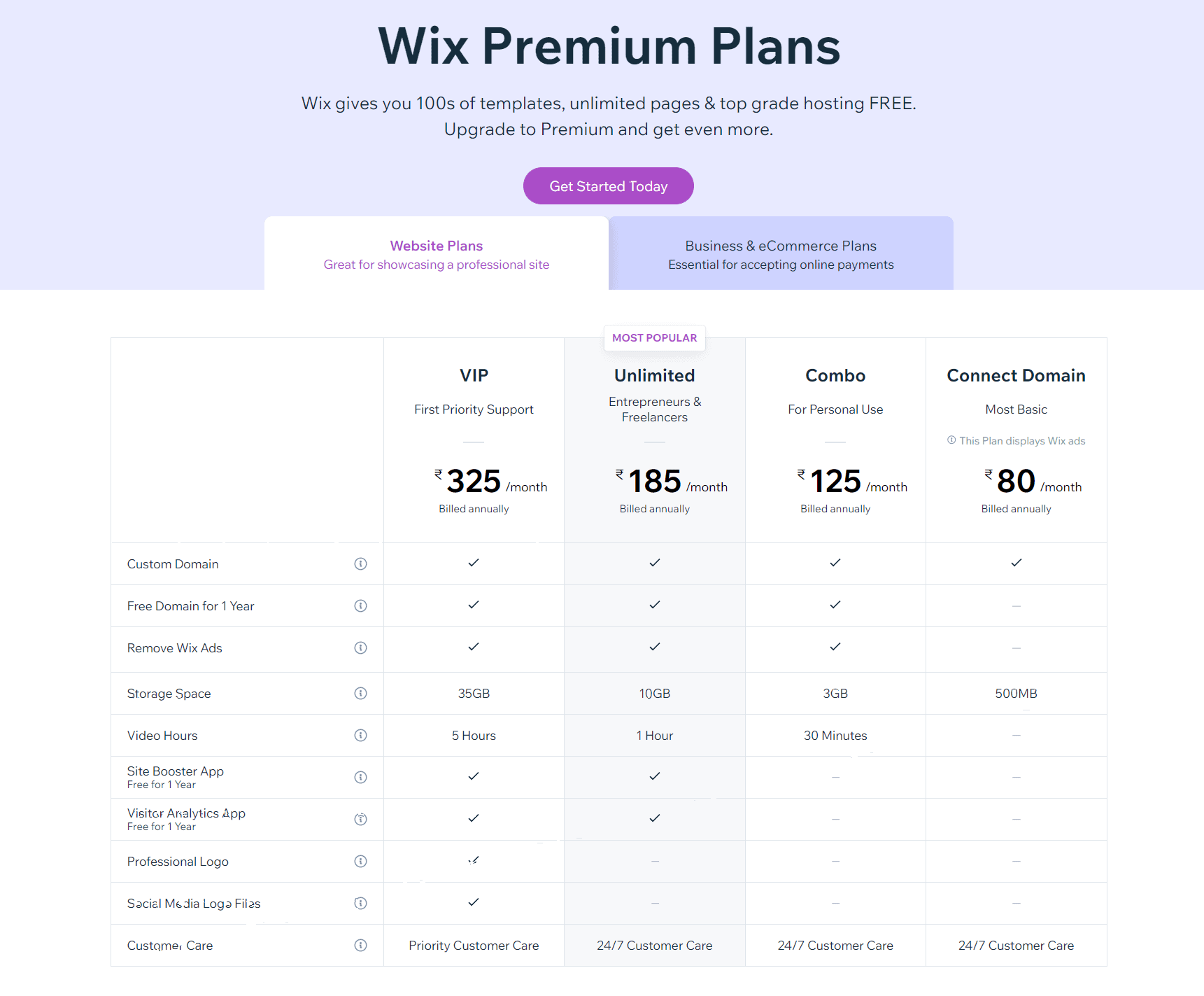 Wix Pricing - Simvoly vs Wix