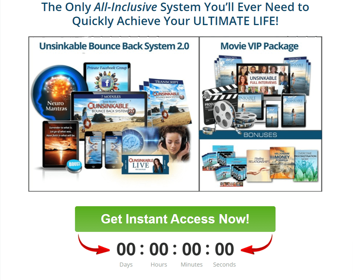 All Inclusive System - Unsinkable Bounce Back system Review