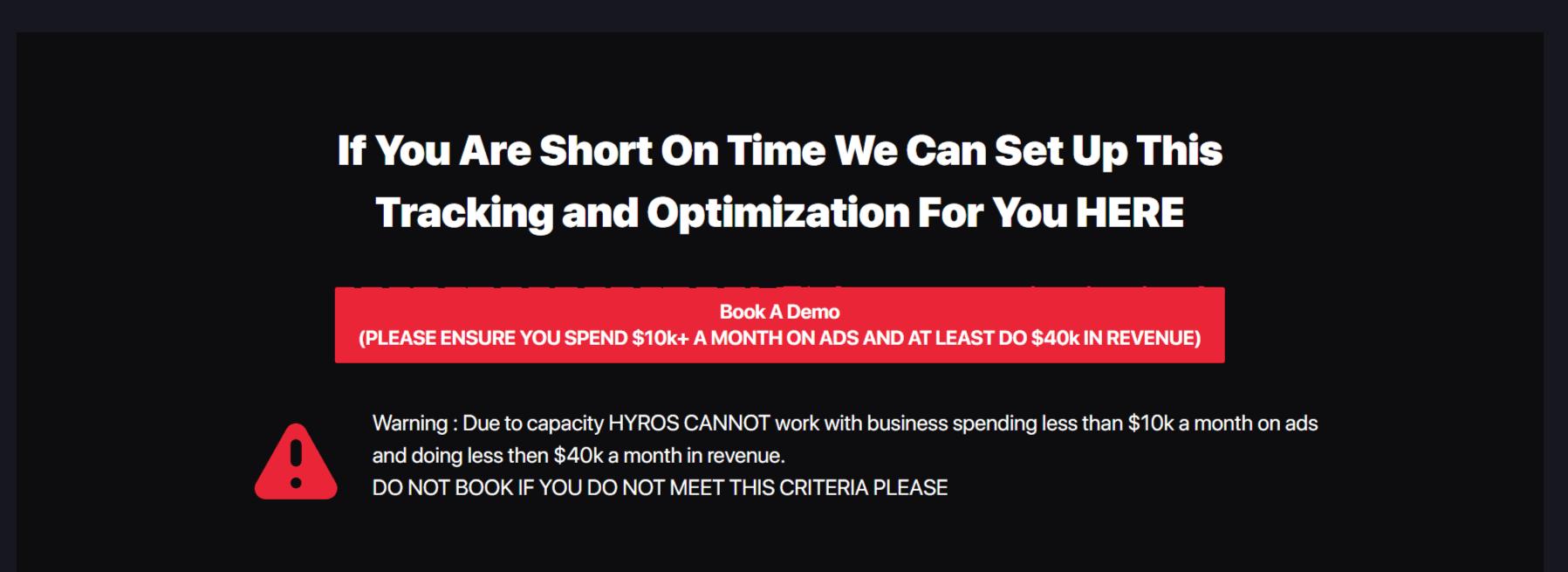 Book a demo -Hyros Review