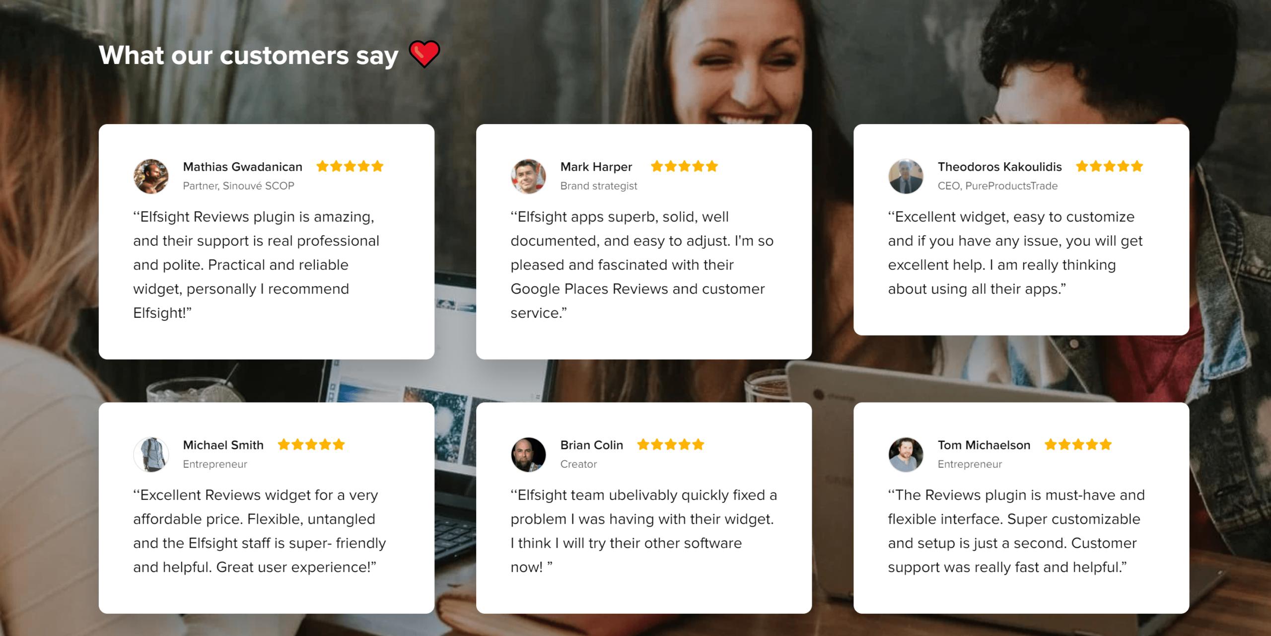 Elfsight plugin customer reviews and testimonials