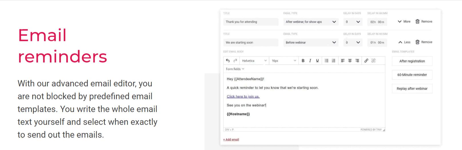 Email Reminders - Elastic Webinar Review