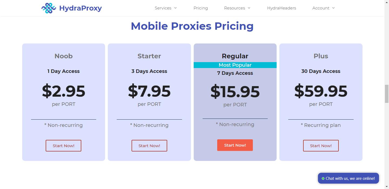 HydraProxy-Mobile Proxy Pricing