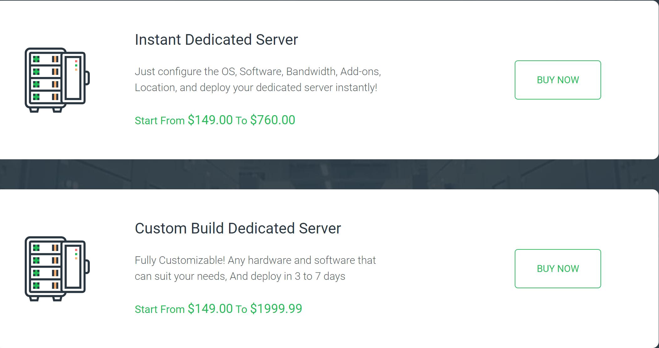 Opera VPS Dedicated server pricing plans