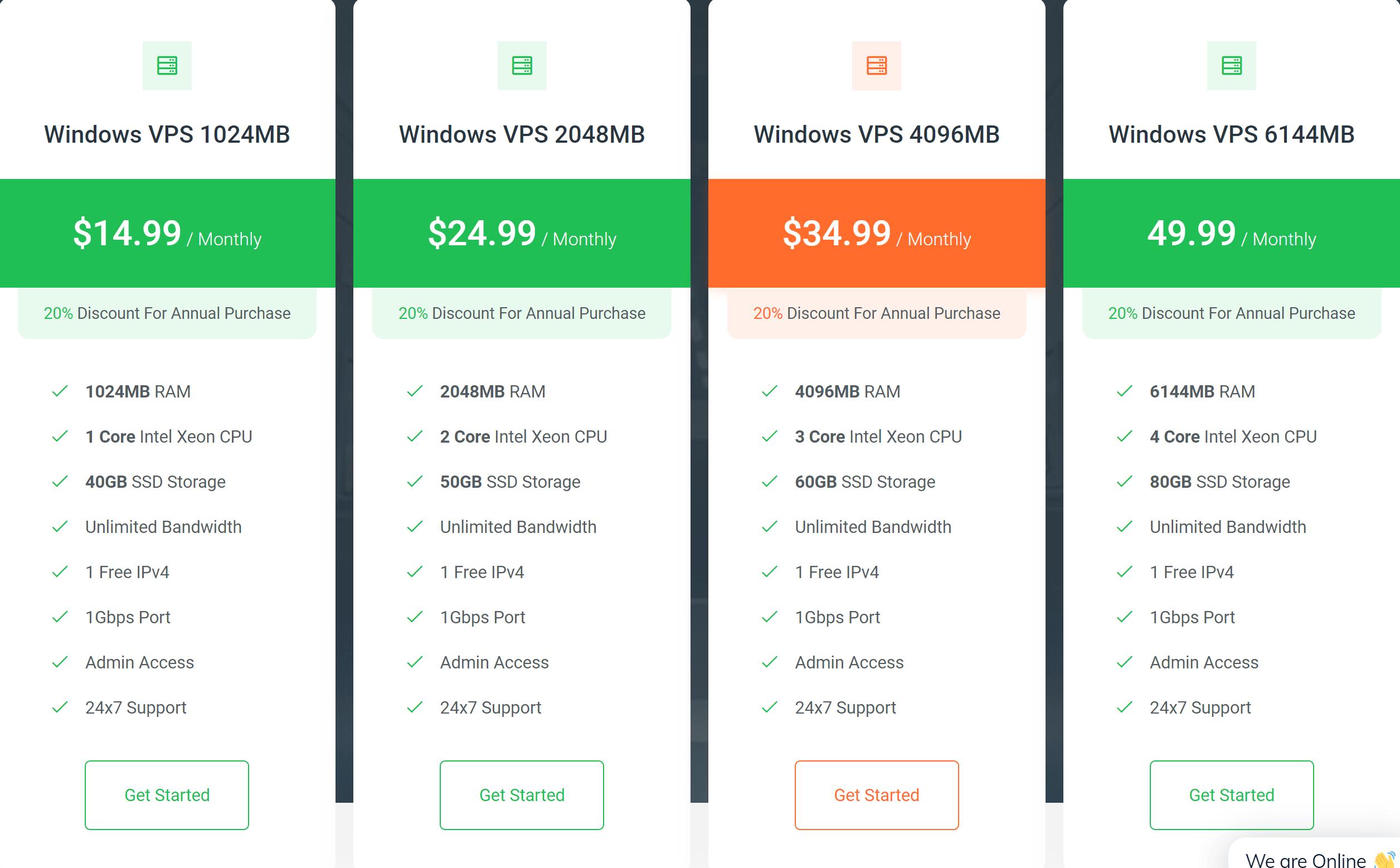 OperaVPS window VPS plans