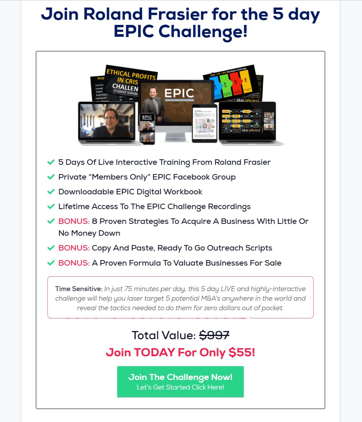 Ronald Fraiser 5 day challenge- EPIC Challenge