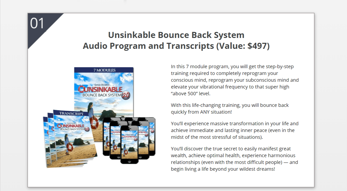 unsinkable Bounce back system Review- Audio program and transcripts