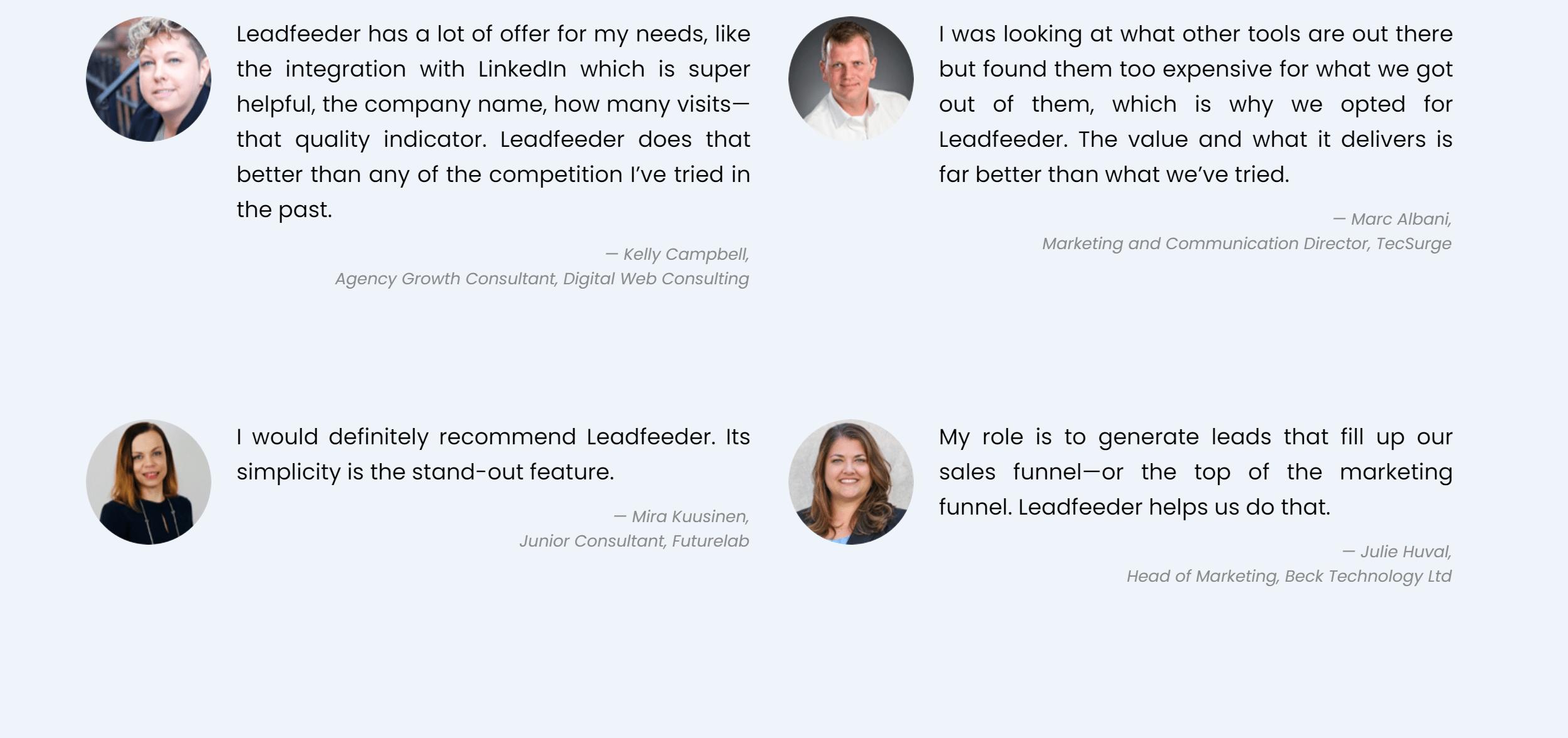 Leadfeeder customer reviews