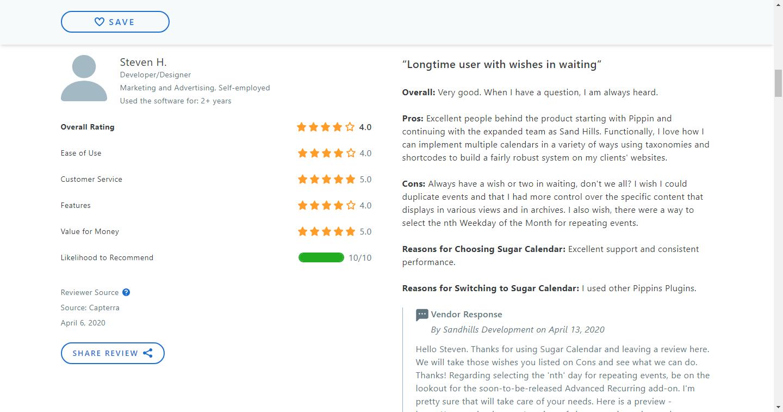 Sugar-Calendar-Reviews by User