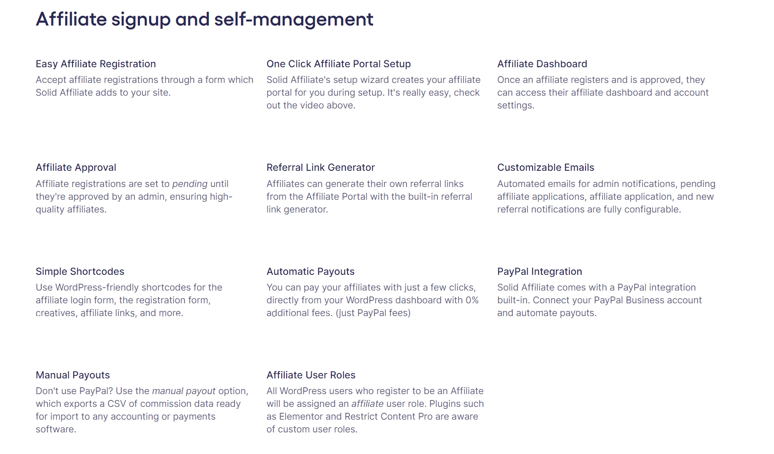 Affiliate signup and self-management