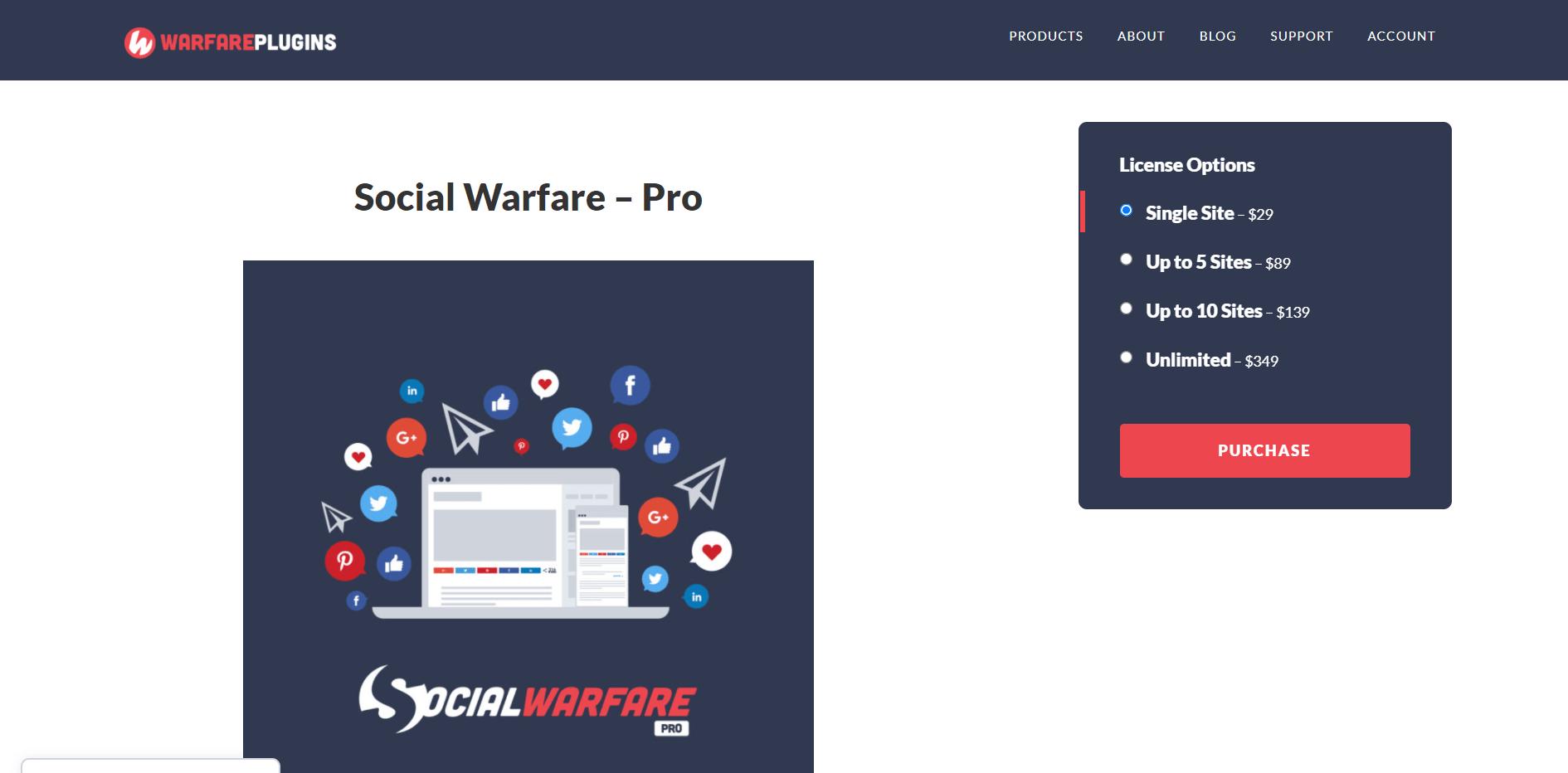 Social Warfare Plugins pricing