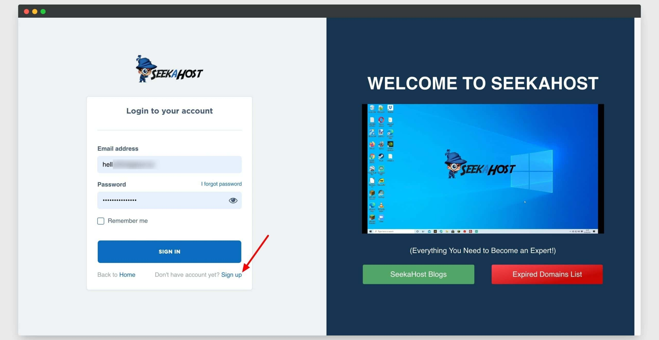signup to seekahost panel