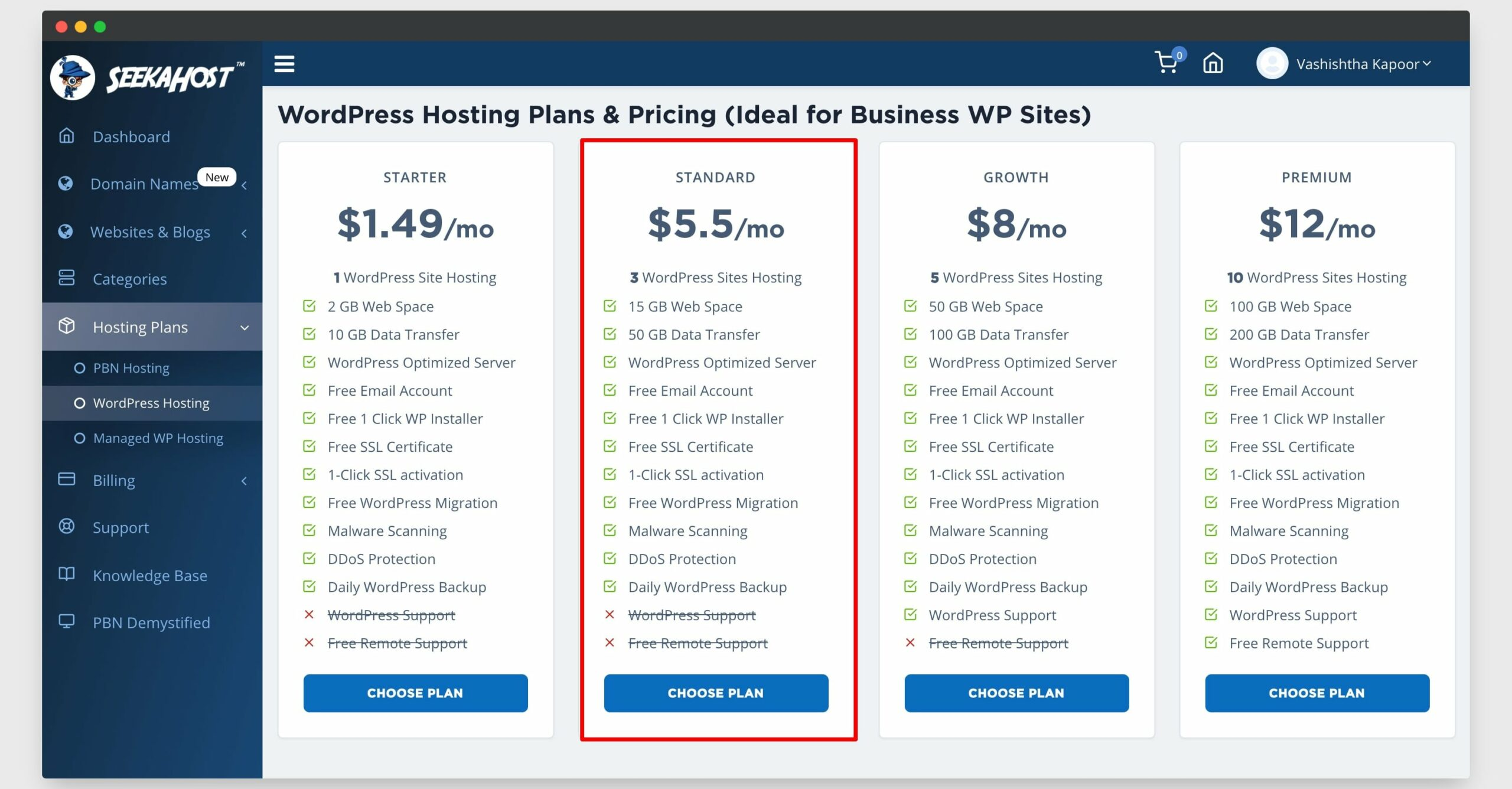 wordpress hosting plans seekahost