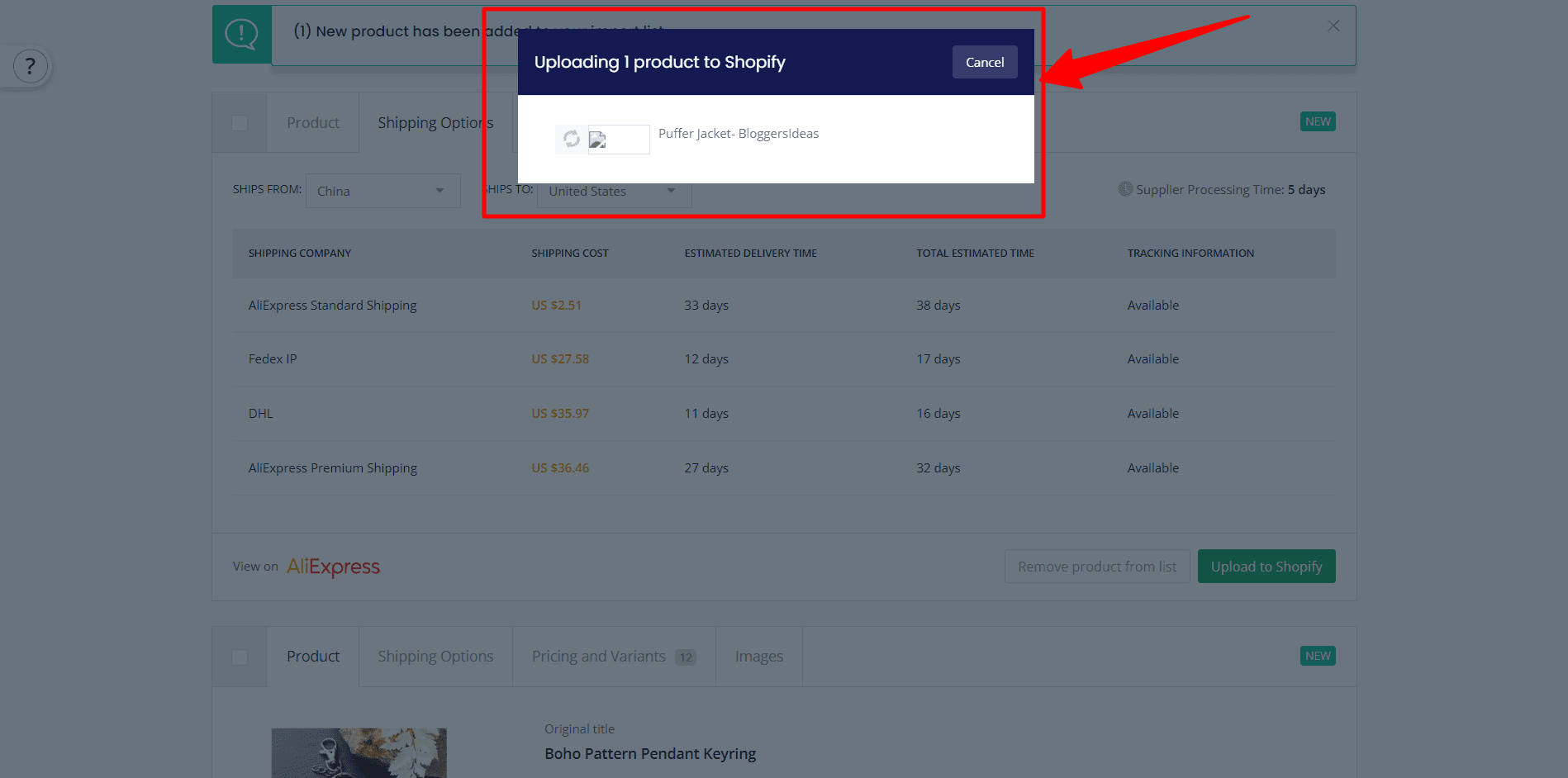 upload products to shopify from salehoo
